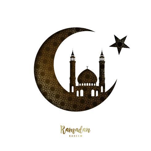 Projeto Ramadan Kareem. Lua de papel de corte e Mesquita. vetor