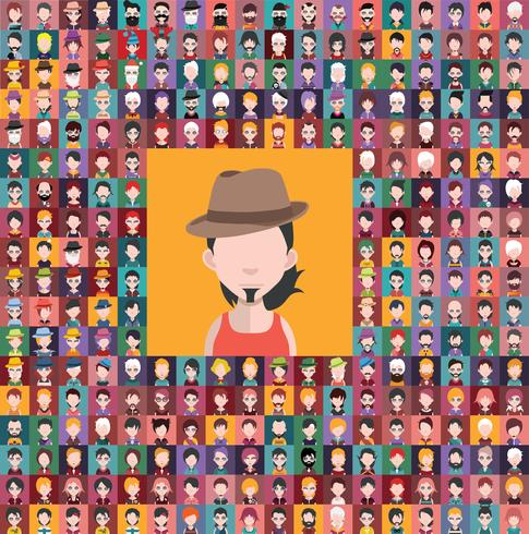 Conjunto de ícones de pessoas com rostos vetor