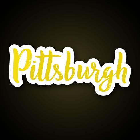 Pittsburgh - mão desenhada letras frase. Adesivo com letras em estilo de corte de papel. vetor