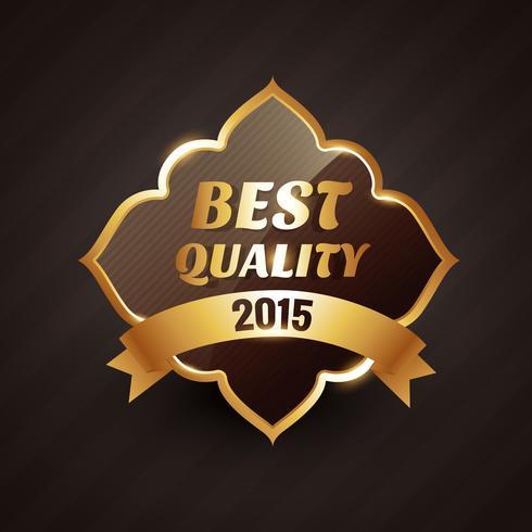 2015 melhor qualidade design de vetor de rótulo dourado