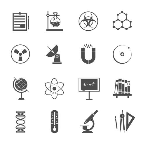 Conjunto de ícones de ciência preto vetor