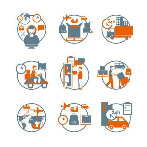Conjunto de ícones laranja logístico círculo cinza vetor