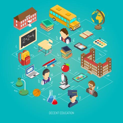 Cartaz de conceito isométrica de escola vetor