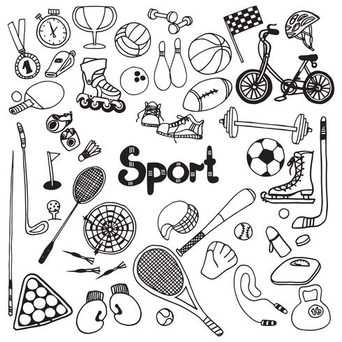 Doodle Esporte Set vetor