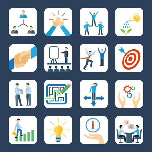 Conjunto de ícones plana de mentoring vetor