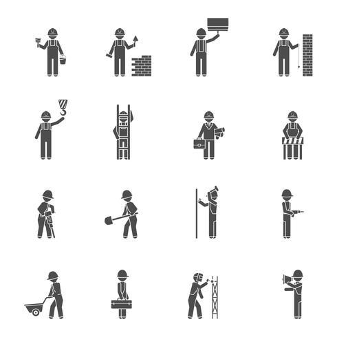 Conjunto de ícones plana de silhueta de construtores vetor