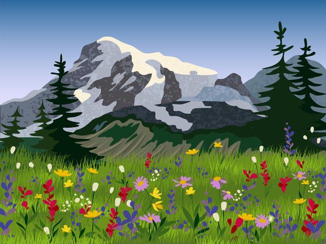 Cartaz alpino do medow do verão da paisagem vetor