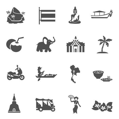 Conjunto de ícones de viagens Tailândia vetor