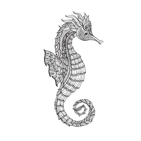Linha preta de cavalo-marinho do esboço de Doodle vetor