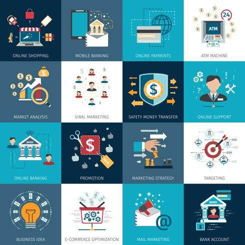 Conjunto de ícones plana de conceito de marketing bancário vetor