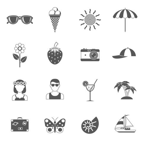 Conjunto de ícones de verão e viagem vetor