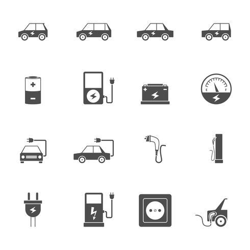 Conjunto de ícones pretos de carro elétrico vetor