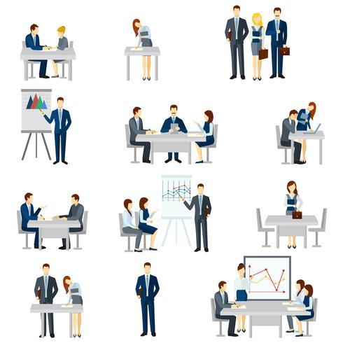 Conjunto de ícones de treinamento de negócios vetor