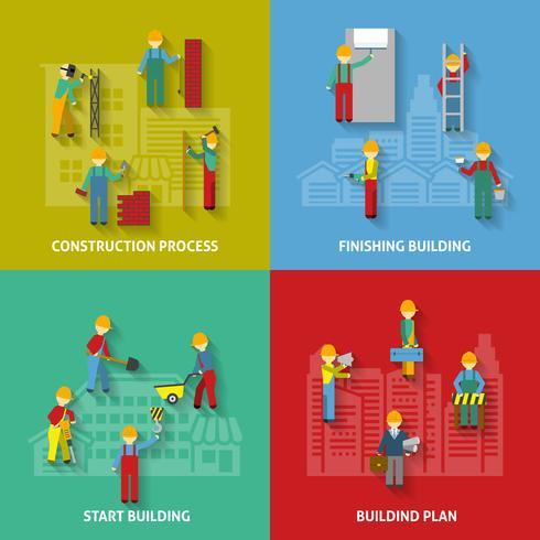 Conjunto de ícones decorativos de construção plana vetor