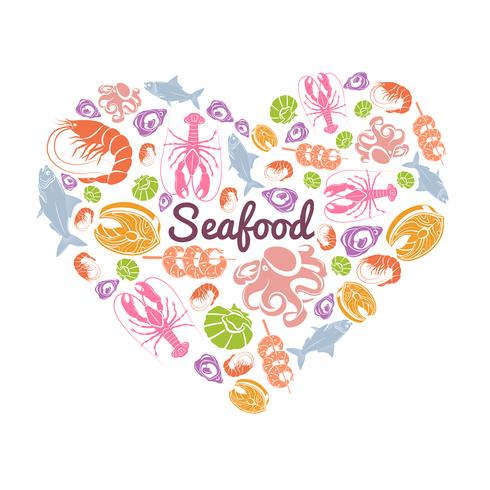 Amo o conceito de frutos do mar vetor