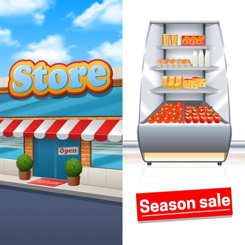 Conjunto de Banner de supermercado vetor