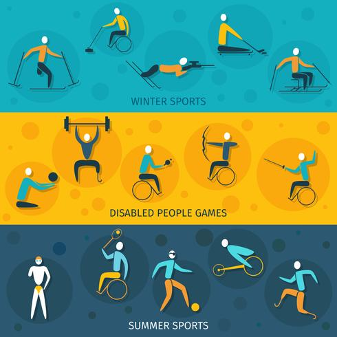 Banners de esportes com deficiência vetor