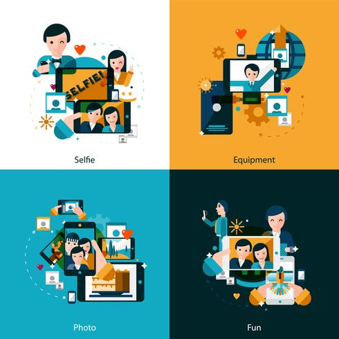 Conjunto de ícones de conceito de foto móvel vetor