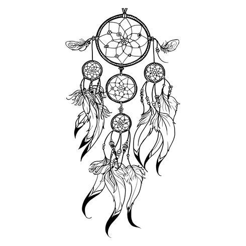 Doodle ilustração de Dreamcatcher vetor