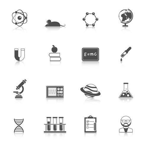 Conjunto de ícones de ciência e bolsa de estudos vetor