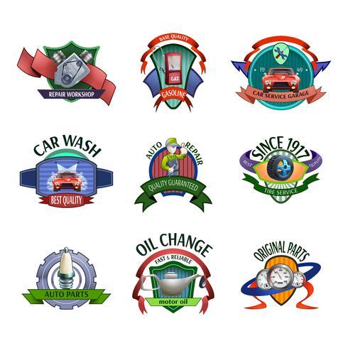 Conjunto de emblemas de serviço mecânico de automóveis vetor