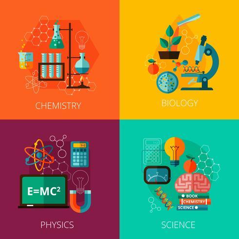 Conceito de ciência 4 ícones de composição de ícone plana vetor