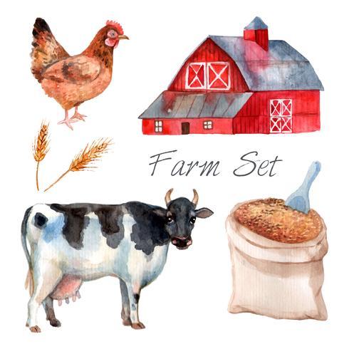 Conjunto de fazenda conceito aquarela vetor