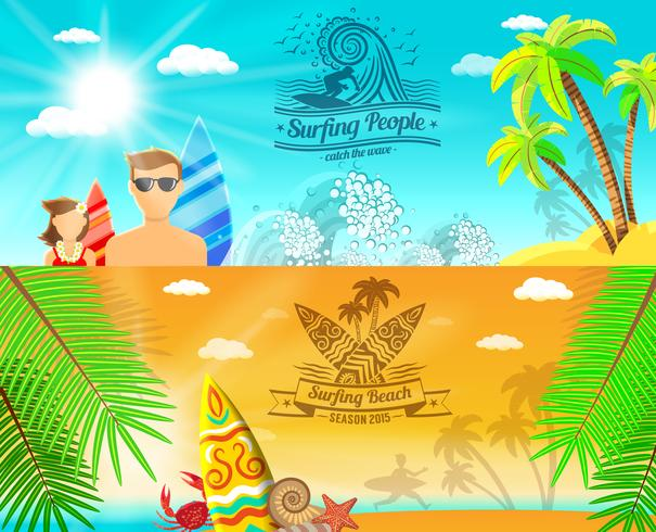 Banner de Surf Horizontal vetor