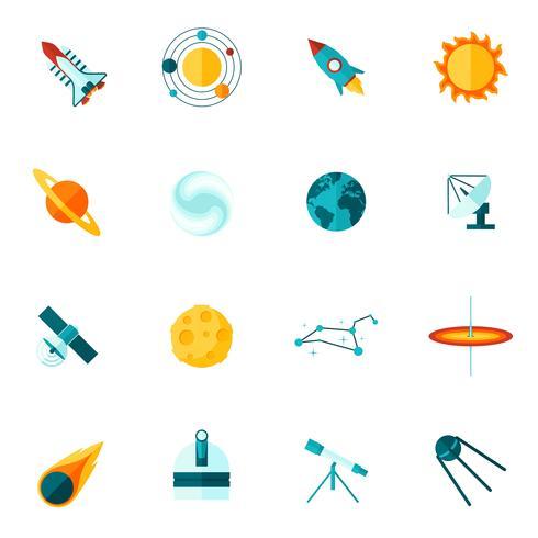 Conjunto de ícones plana espaço universo vetor