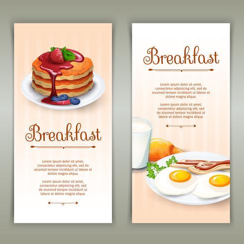 Conjunto de bandeiras verticais de café da manhã 2 vetor