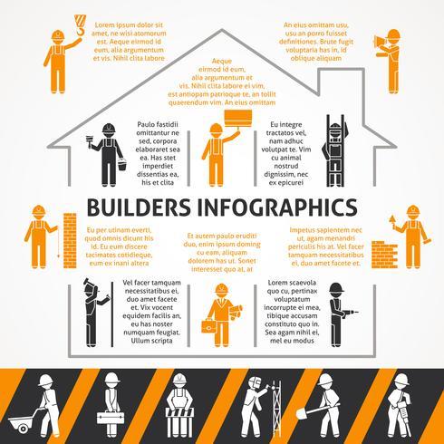 Conjunto de infográfico de cor lisa de construtores vetor