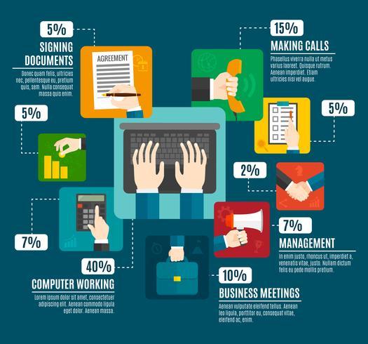 Infografia de mãos de negócios vetor