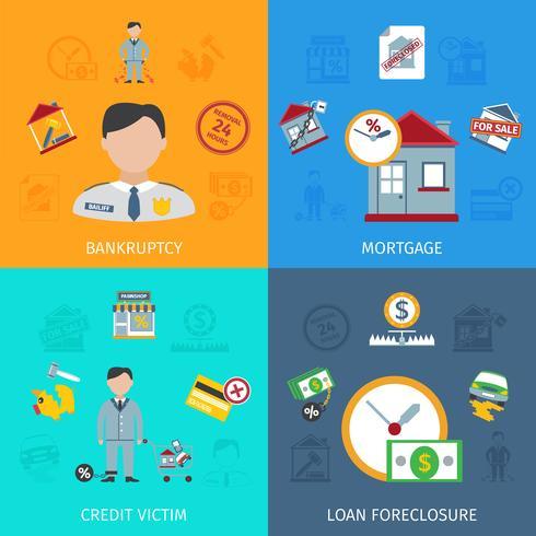 Conjunto de ícones de encerramento de empréstimo vetor