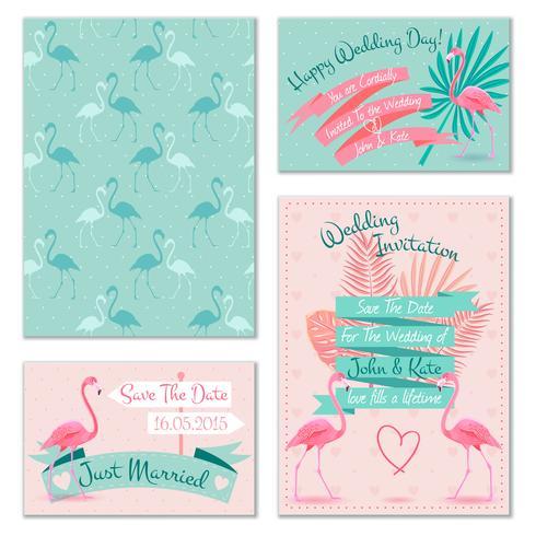 Cartões de convite de casamento Flamingo vetor