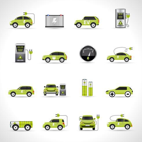 Ícones de carro elétrico vetor