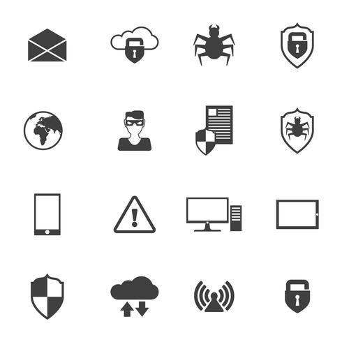 Ícones de segurança de rede vetor
