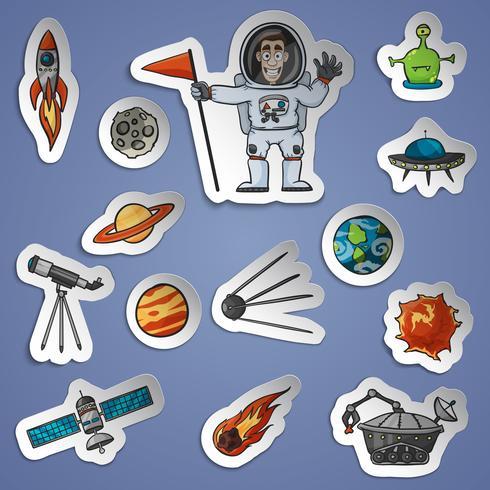 Conjunto de adesivos de espaço vetor