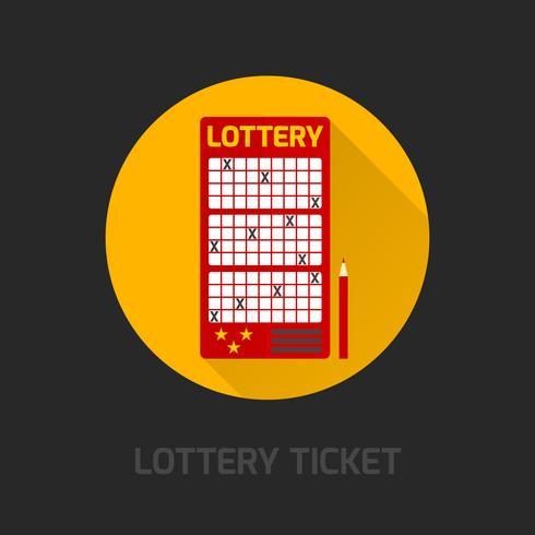 Ícone de cartão de loteria plana vetor