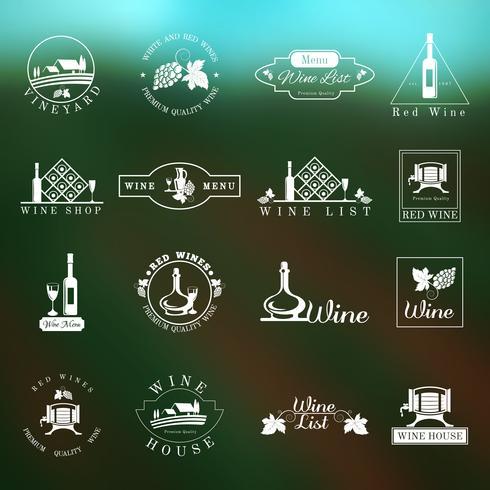 Conjunto de logotipo de vinho vetor