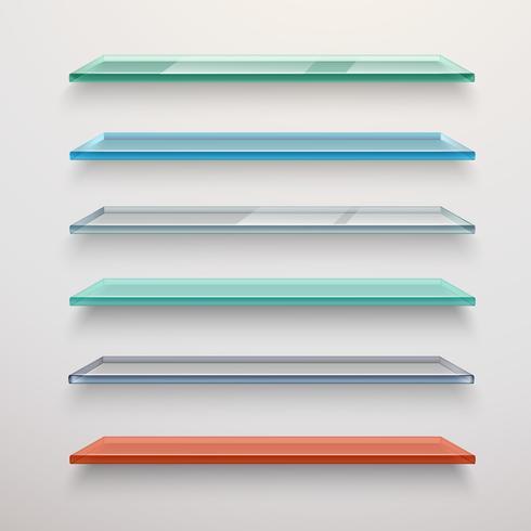 Conjunto de prateleiras de vidro vetor