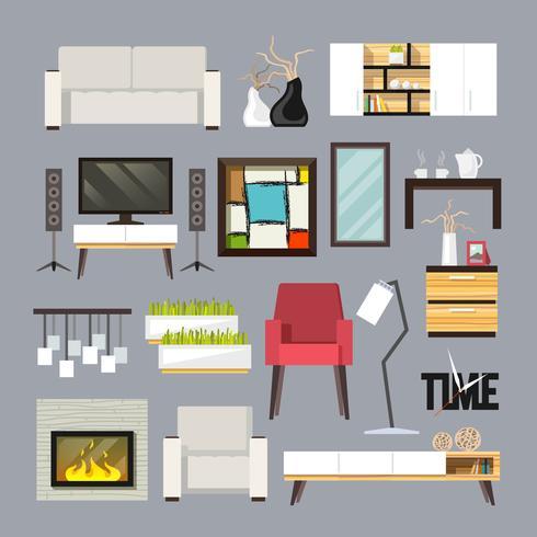 Conjunto de mobília de sala de estar vetor