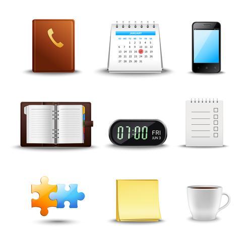 Ícones de gerenciamento de tempo realista vetor