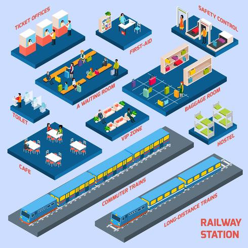 Conceito de estação ferroviária vetor