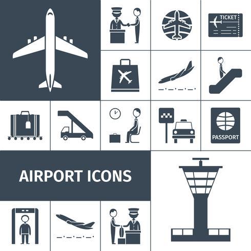 Conjunto de ícones de aeroporto preto vetor