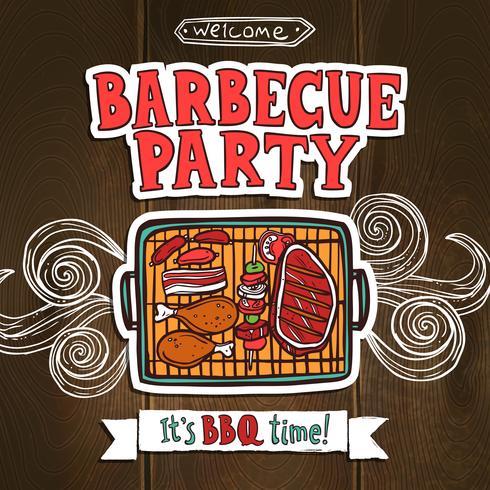 Cartaz do partido da grade do BBQ vetor