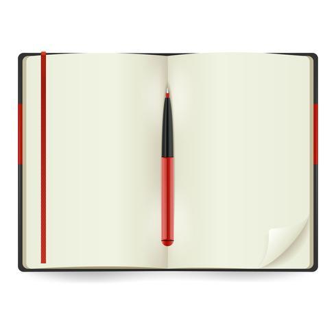 Abra o bloco de notas realista vetor