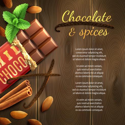 Chocolate e especiarias fundo vetor