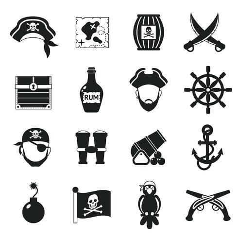Conjunto de ícones de pirata preto vetor