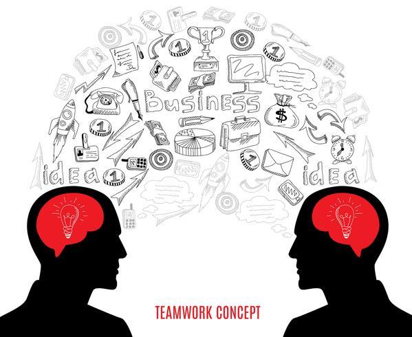 Ilustração de composição do negócio equipe conceito ícones vetor