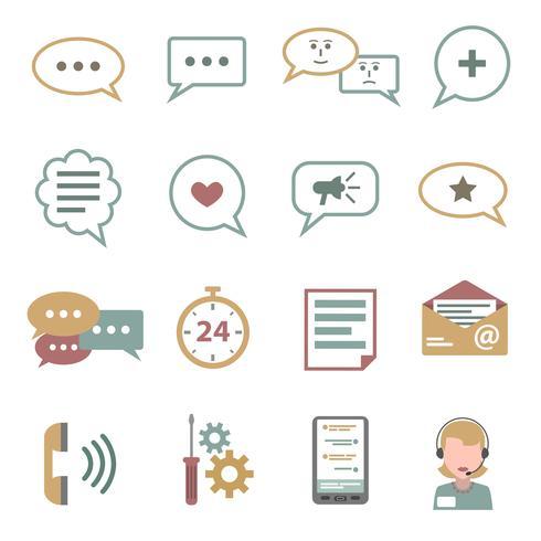 chat icons set plana vetor